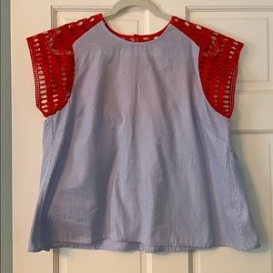 Blue/white/red Anthro top
